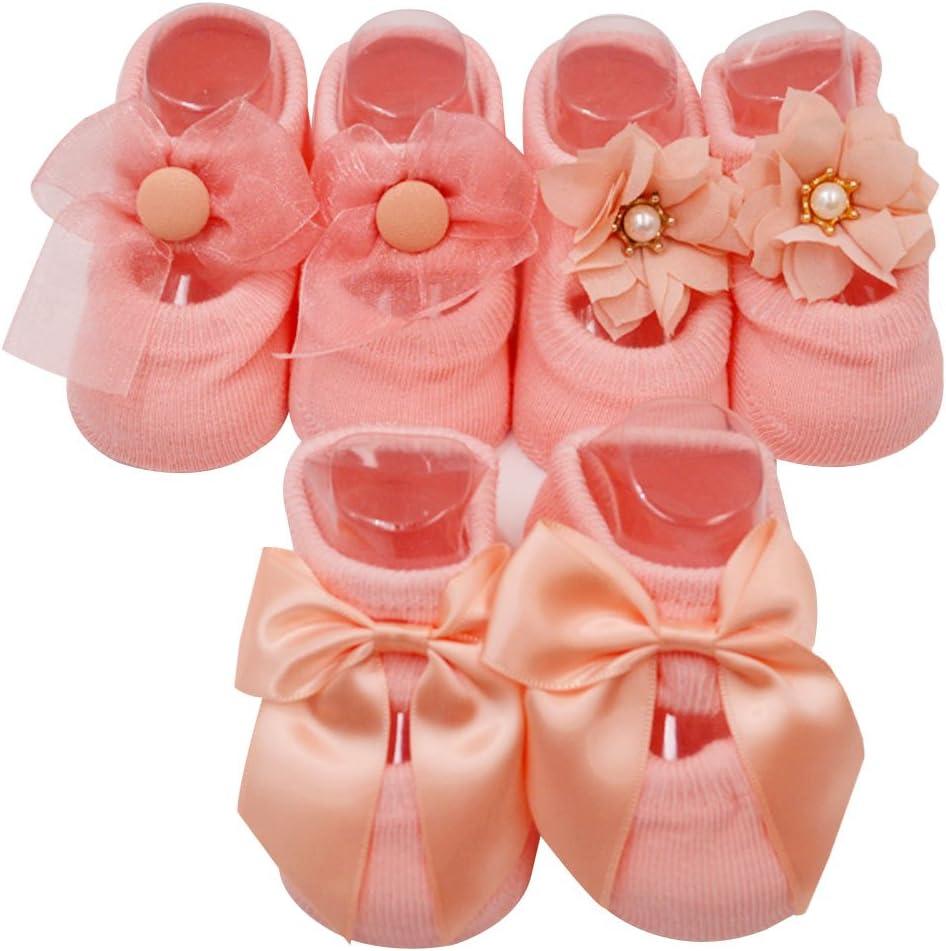 Bebé niñas socks Lovely Floral princesa encaje interior Suelo Calcetines para bebé recién nacido, pack de 3,0 – 1 años, Rosa rosa rosa Talla:mediano: Amazon.es: Bebé