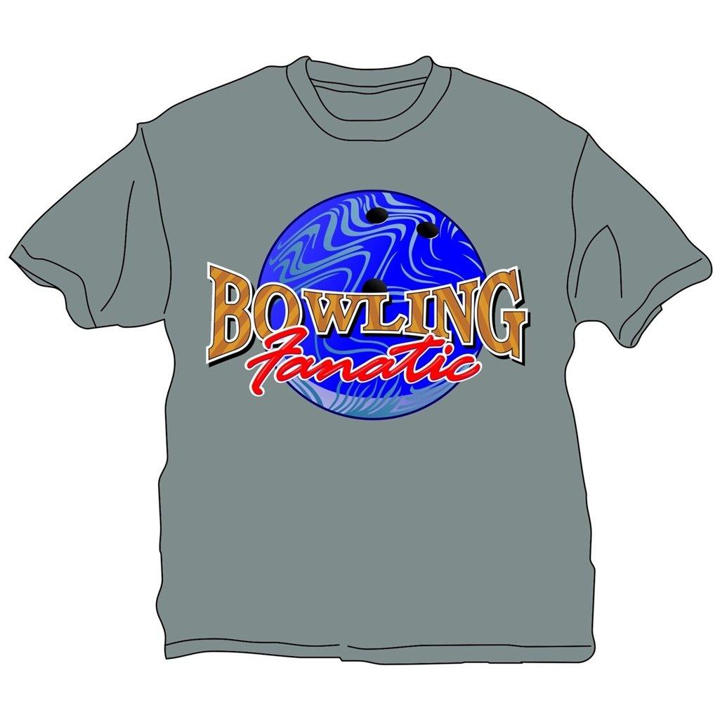 Bowling Fanatic T-Shirt- Gray (XX-Large, Gray)