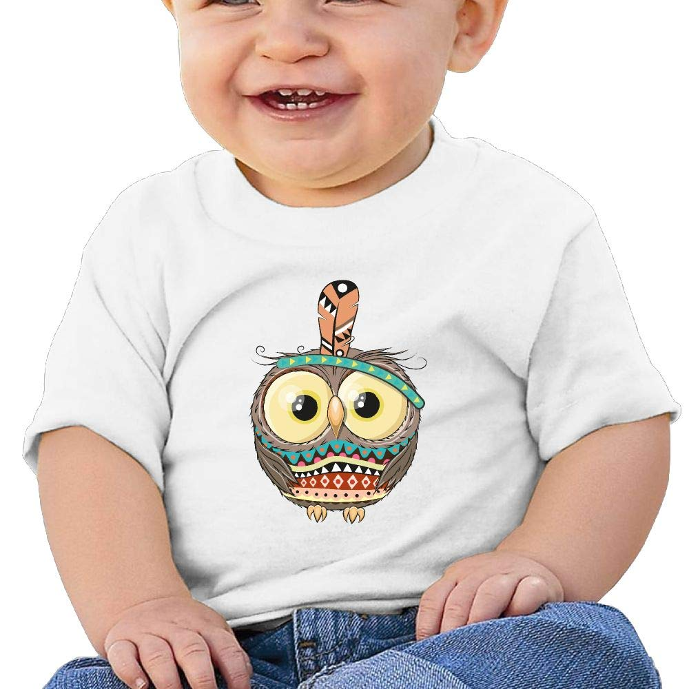 Buecoutespainted Owl Toddler//Infant Short Sleeve Cotton T Shirts White