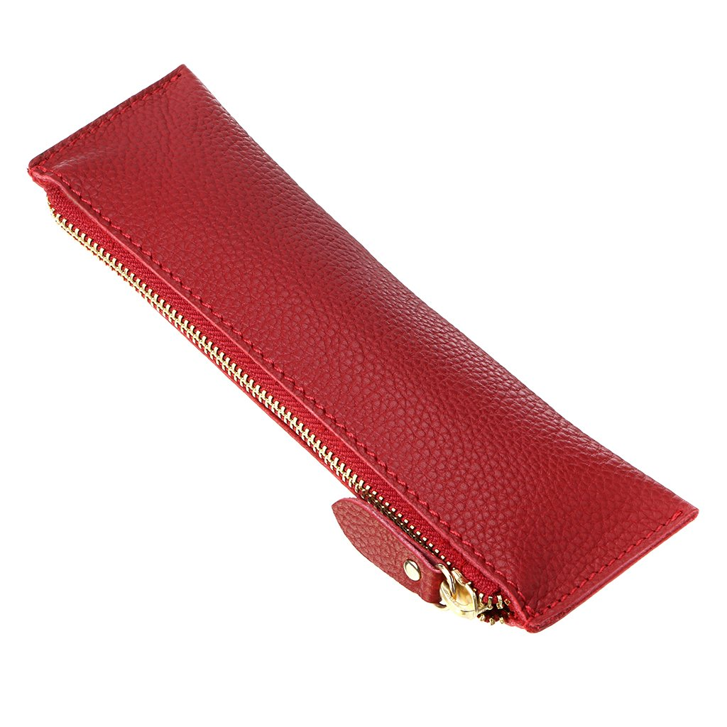 BTSKY Vintage Soft Genuine Leather Pencil Pen Case Pouch Retro Stationery Bag Holder Organizer Storage for Students Businessmen and Artists (Red)