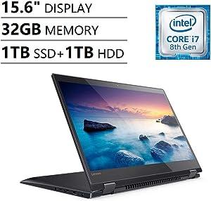 "Lenovo Ideapad Flex 5 15.6"" Full HD FHD IPS Touchscreen 2-in-1 Business Laptop (Intel Quad-Core i7-8550U, NVIDIA MX130, 32GB DDR4 RAM, 1TB NVMe SSD+1TB HDD) Fingerprint, Backlit, Type-C, Windows 10"