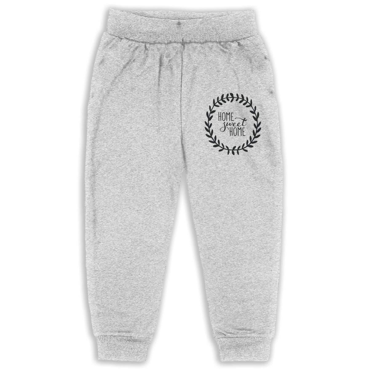 LFCLOSET Home Sweet Home Children Active Jogger Sweatpants Basic Elastic Sport Pants Gray