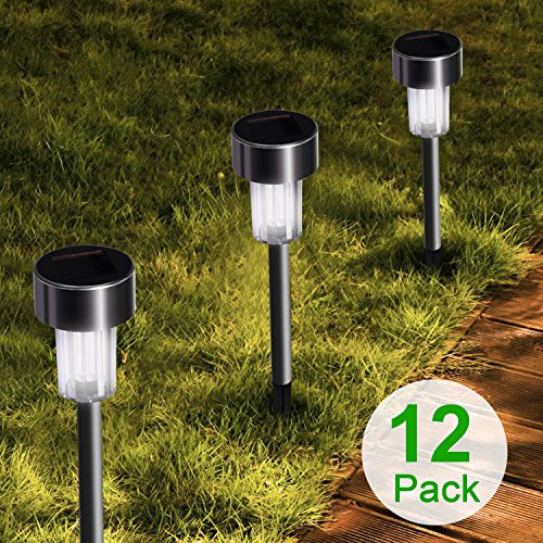 Stripsun LED Solar Garden Lights, [12 Pack] Stainless Steel Outdoor Solar Landscape Lights / Pathway Lights for Lawn, Yard, and Driveway