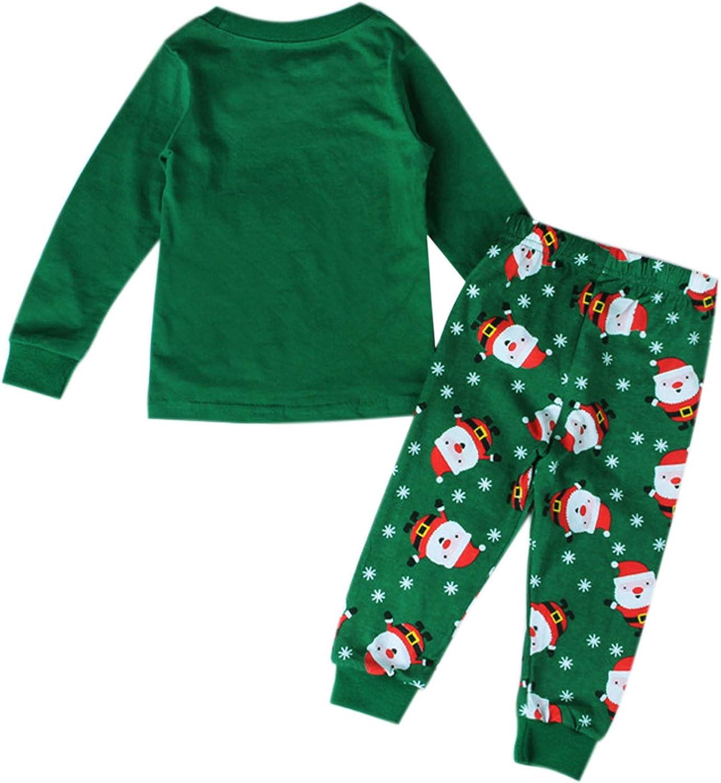 Evelin LEE Baby Girls Boys 2pcs Christmas Pajamas Outfits Xmas Printed Cotton Sleepwear