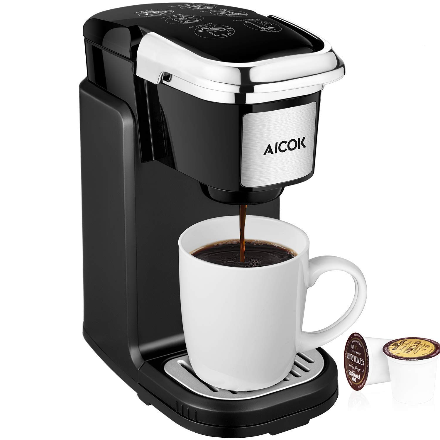 AICOK Single Cup Coffee Maker, Single Serve Coffee Brewer with Removable Cover for Most Single Cup Pods including K-CUP pods, Quick Brew Technology, 800W, Black by AICOK