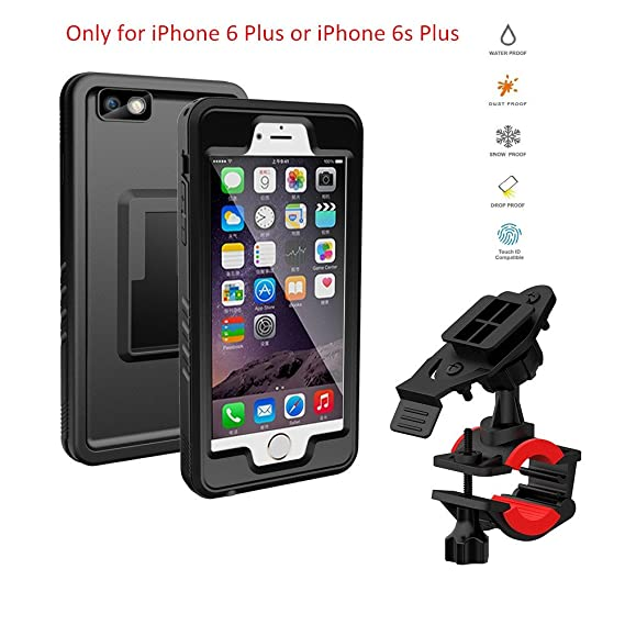 check out 5fbc4 aaee2 Bike Mount iPhone 6 Plus or iPhone 6s Plus Waterproof Case, Lycase Cycling  Bicycle Rack Handlebar & Motorcycle Holder Mounting System with 360 Rotate  ...