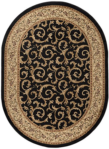 Black Transitional Rug (Westminster Transitional Oriental Black Oval Area Rug, 5' x 7' Oval)