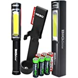 Nebo 6306 Big Larry Black 400 lumen Flashlight COB LED Magnetic Worklight, 6393 holster with 3 X EdisonBright AA Alkaline batteries bundle