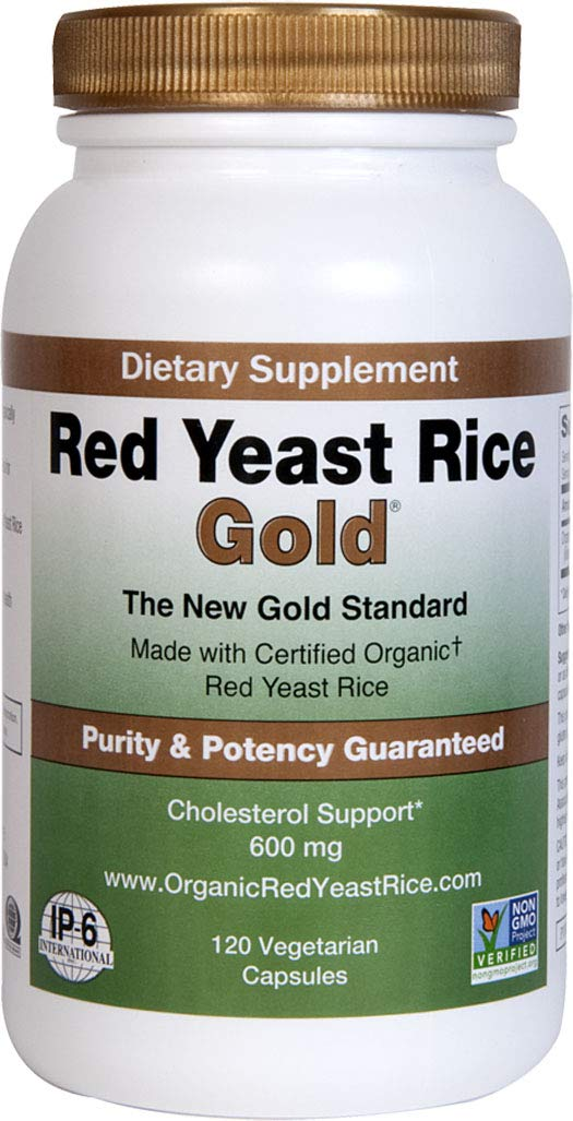 Red Yeast Rice Gold 600 mg. - IP6 International - 120 Vegetarian Capsules by Red Yeast Rice Gold