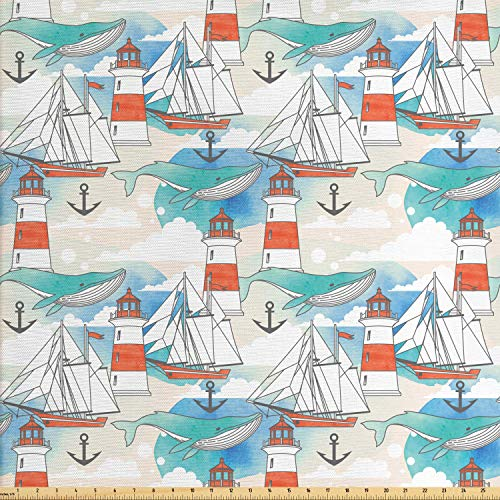 Ambesonne Lighthouse Fabric by The Yard, Abstract Whale Anchor and Boats Pattern Sky Inspired Background Nautical Design, Decorative Fabric for Upholstery and Home Accents, 1 Yard, Multicolor
