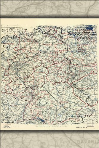 24x36 Poster; Map Invasion Of Germany May 15, 1945 12Th Army