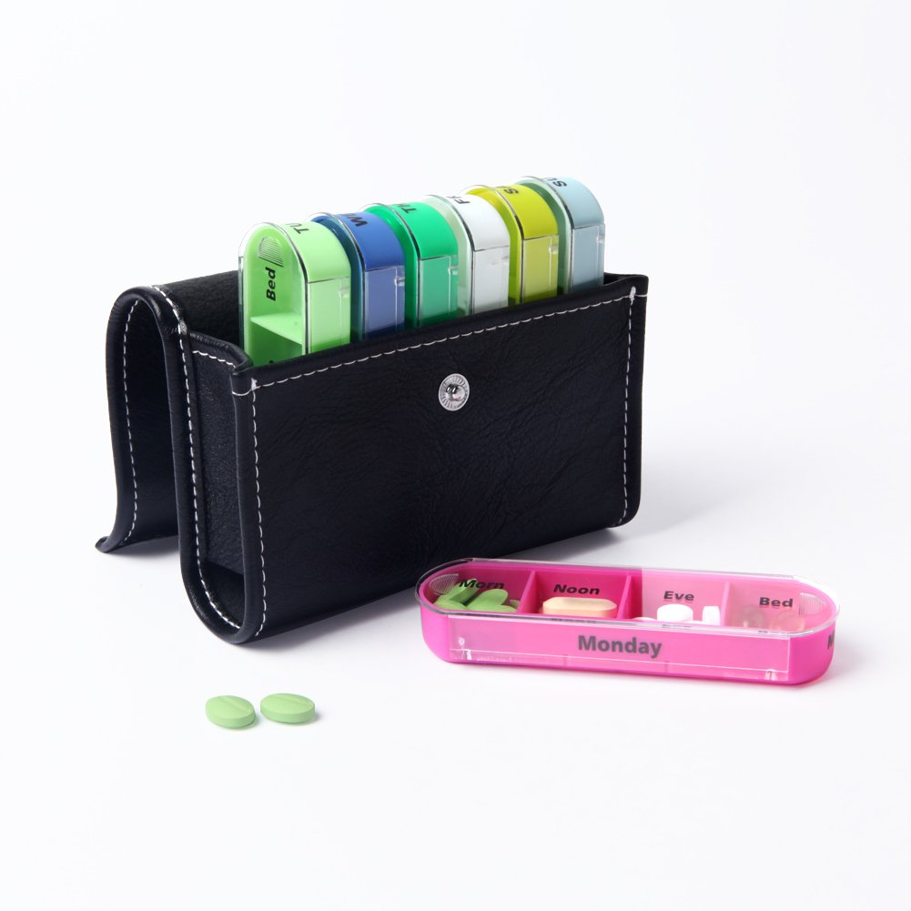 XINHOME Weekly Travel Pill Organizer Box - Prescription and Medication Reminder Pill Box, Pill Case Daily AM PM, Day Night 7 Compartments-Includes Black Leather Pouch, for 4 Times A Day, 7 Days a Week