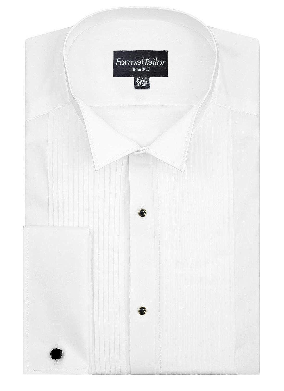 ee7c29d4283 Formal Tailor Men s White Regular Wing Collar Wedding Pleated Front Shirt  Tuxedo Cufflinks  Amazon.co.uk  Clothing
