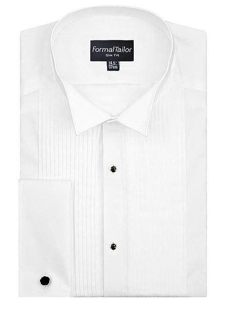 bc3a60448d5 Formal Tailor Men s White Regular Wing Collar Wedding Pleated Front Shirt  Tuxedo Cufflinks (Collar -