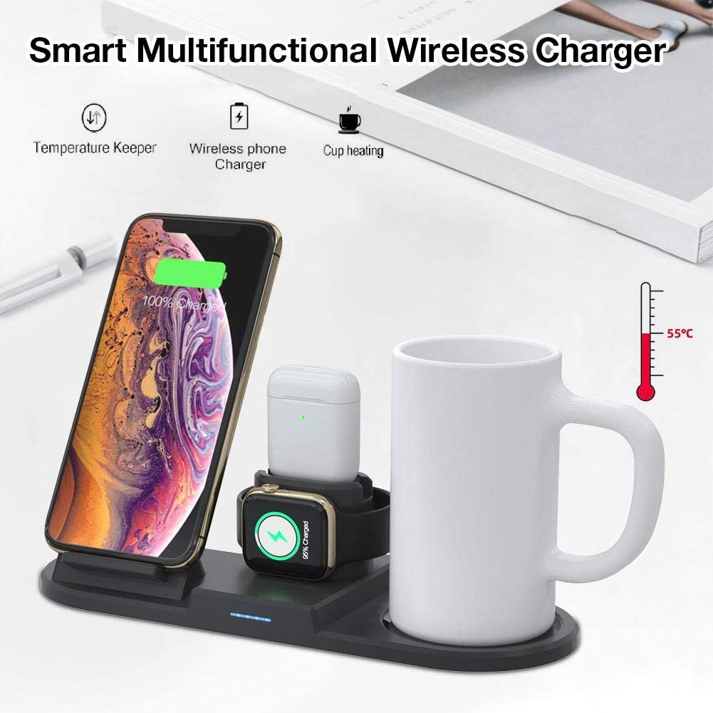 Cup Lid for iWatch Presents Desktop Charging Dock Stand Holder with Cup vividesire 3 in 1 Charging Station for iPhone Pro//Xs//X Max//XR//X//8//8Plus//7//7 Plus for AirPods