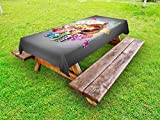 Lunarable Poker Tournament Outdoor Tablecloth, Welcome to Casino Colorful Chips and Cards Dice and Roulette Win Jackpot, Decorative Washable Picnic Table Cloth, 58 X 84 inches, Multicolor