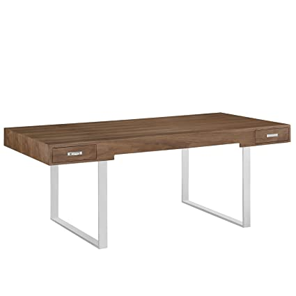 Modway Tinker Contemporary Modern Wood And Stainless Steel Office Desk With  Two Drawers In Walnut