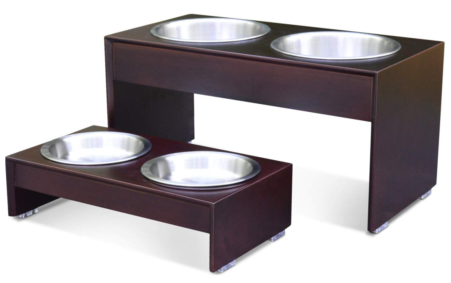 PetFusion Elevated Dog Bowls, Cat Bowls -- Bamboo Feeder W/ Water Resistant Seal (Short 4''). Us Food Grade Stainless Steel Raised Bowls by PetFusion