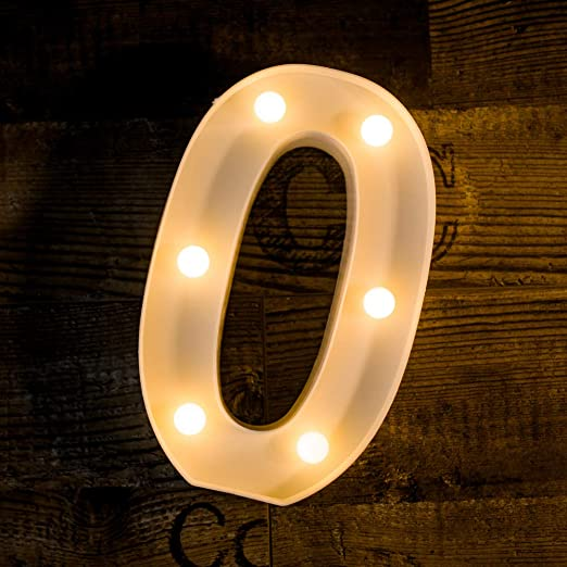 Foaky Decorative Led Light Up Number, Light Up Number Sign for Night Light Wedding Birthday Party Christmas Home Bar Decoration Number(0)