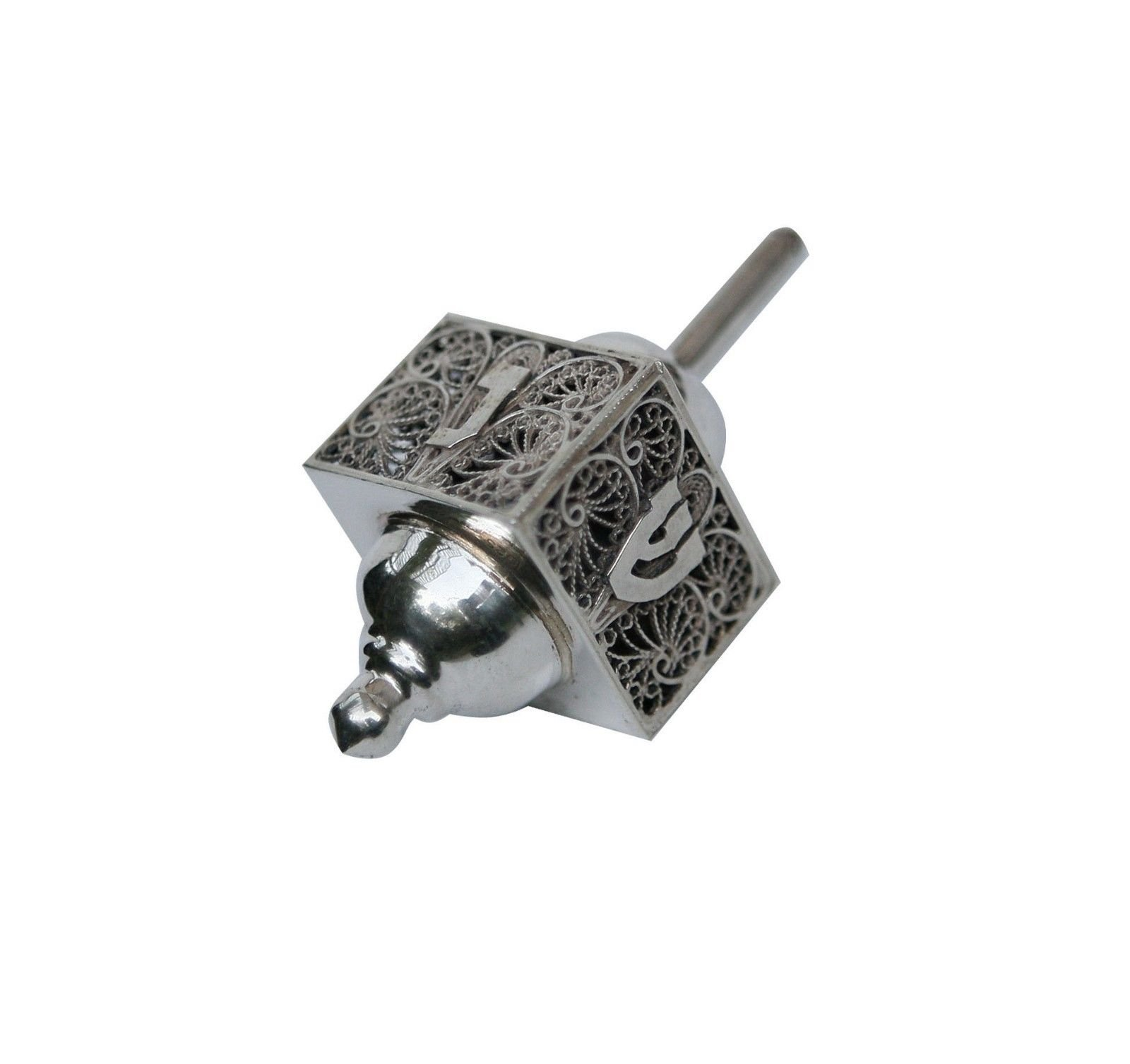 Hanukkah Chanukkah Dreidel Collector's Beautiful Unique 925 Sterling Silver, Israel Hand Made, Weight: 25 Grams , 3.0'' x 1.25''. Spinning Top