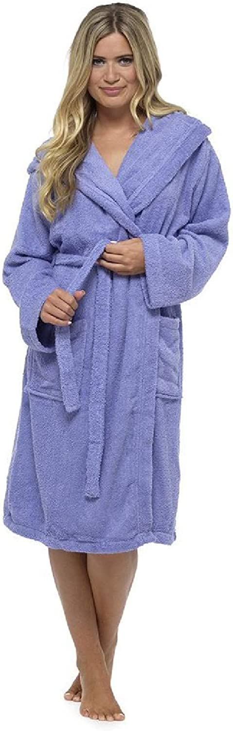 Ladies Robe Luxury Terry Towelling Cotton Dressing Gown Bathrobe Highly Absorbent Women Hooded and Shawl Towel Bath Wrap