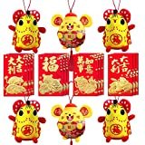 Playstyle 6Pcs Cute Rat Plush Pandants + 12Pcs Red Envelopes, Chinese New Year Red Rat Ornament Decorations The Mouse Festival Decoration Good Luck Plush Red Mascot Rat Stuffed Animal (Pack C)