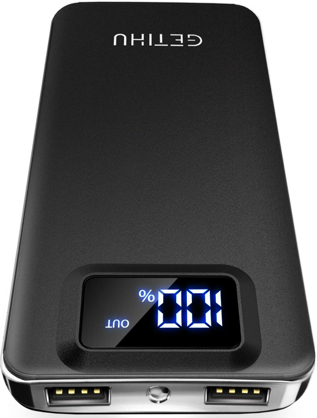 GETIHU Portable Charger, LED Display 10000mAh Power Bank, 4.8A 2 USB Ports High-Speed Battery Backup with Flashlight, Compatible with iPhone Xs X 8 7 6S Plus Samsung Galaxy Note 9 S9 iPad Tablet Etc