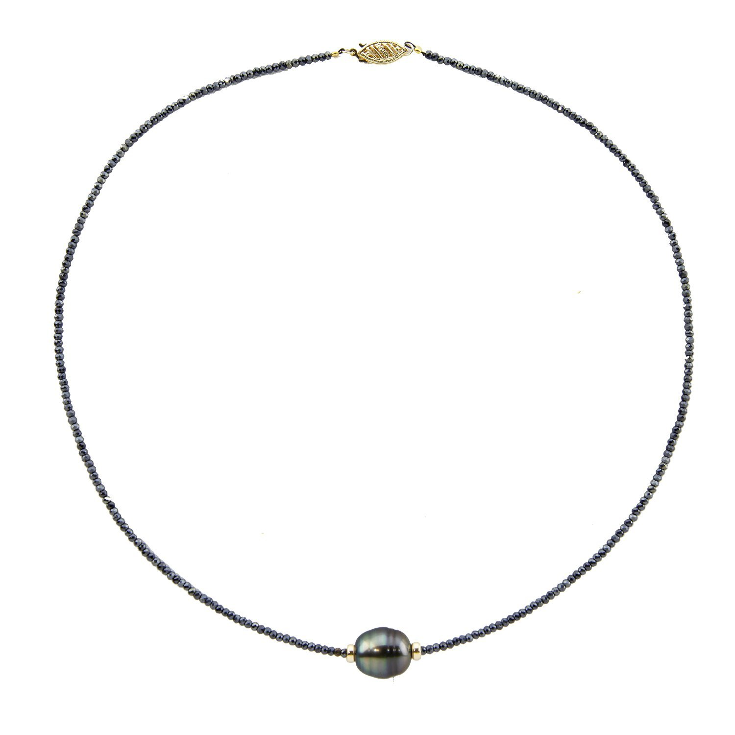 14K Yellow Gold 11-12mm High Luster Circle-Drop-Baroque Tahitian Cultured Pearl with Black Spinel Necklace 18'' Length A style by Akwaya