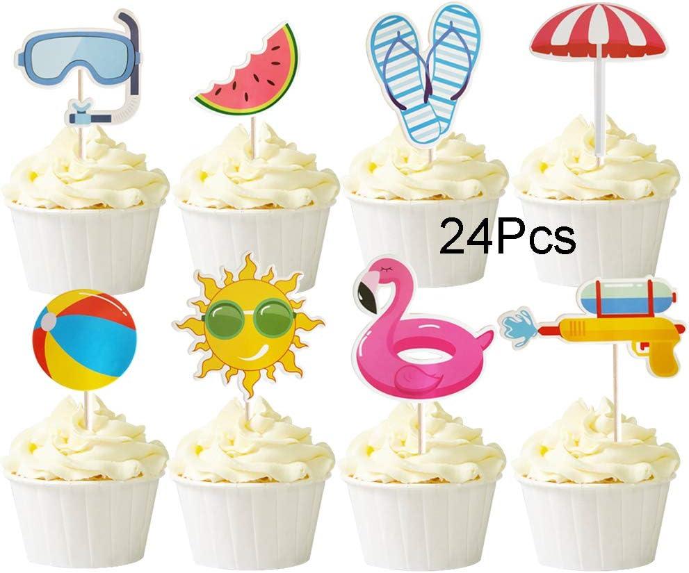 Miraculous Amazon Com Mulukaya 24Pcs Summer Pool Theme Beach Ball Sun Funny Birthday Cards Online Barepcheapnameinfo