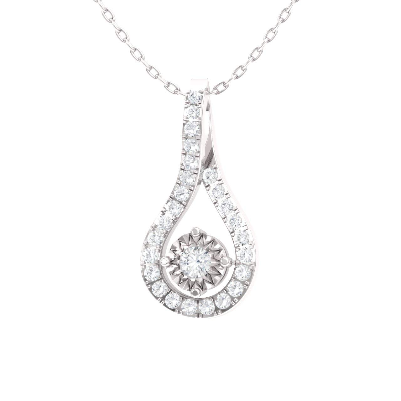 Diamondere Natural and Certified Gemstone and Diamond Drop Petite Necklace in 14k White Gold Pendant with Chain