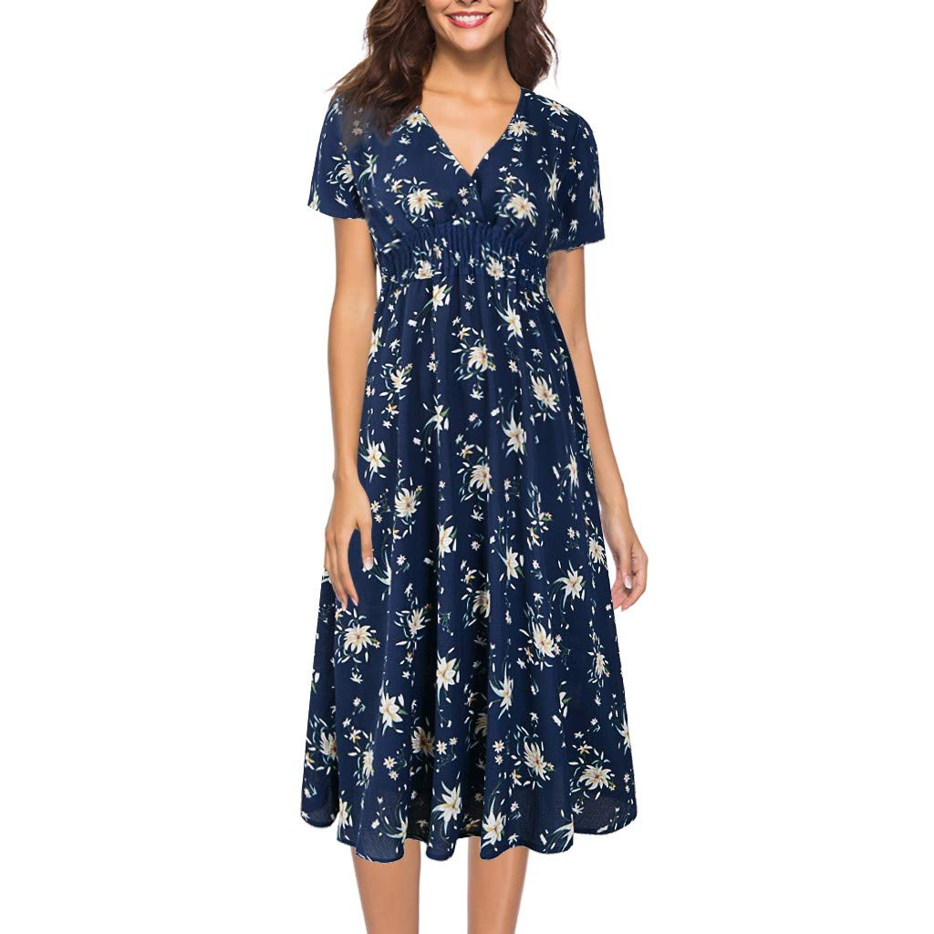 Botrong Women's V Neck Holiday Floral Short Sleeve Beach Party Dress (Dark Blue,XXL) by Botrong