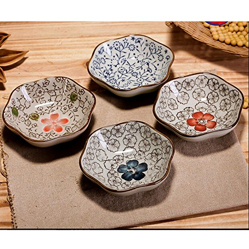 Longpro Set Of 4 Asian Style Sauce Dishes Plate Soy Japanese Chinese Rice Bowl Dishes Sauce Dish Cream Soup Bowl And Saucer : japanese square plates - Pezcame.Com