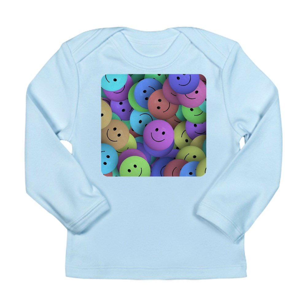 6 To 12 Months Truly Teague Long Sleeve Infant T-Shirt Lots Of Pastel Smiley Faces Sky Blue