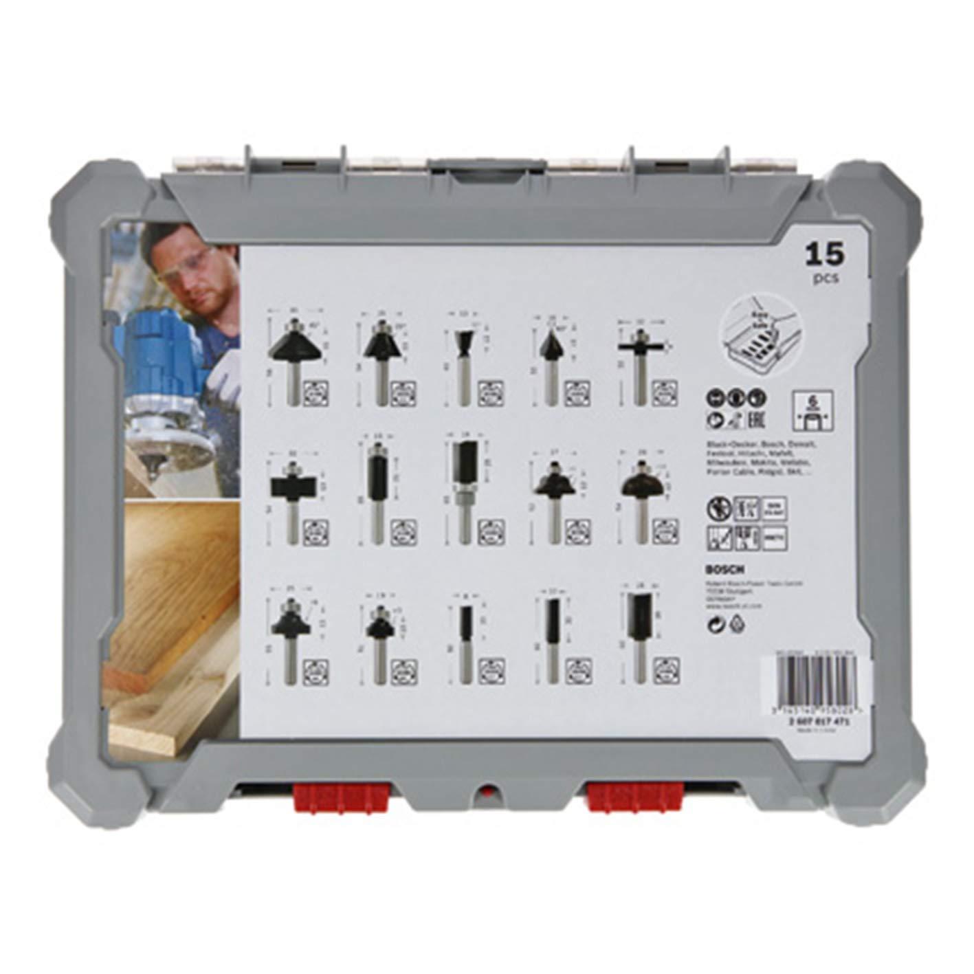 para Madera, para fresadoras con v/ástago de 6 mm Bosch Professional 2607017471 Juego de 15 Fresas