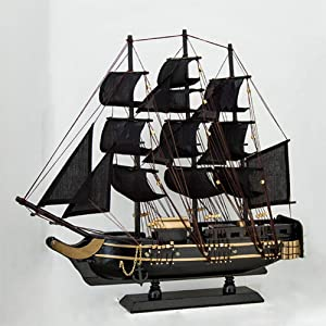 QLA-46 cm Solid Wood Pirate Ship Mediterranean Ship Model Wooden Sailing Crafts Home Furnishings for Desktop Decoration Men and Children Birthday Gifts