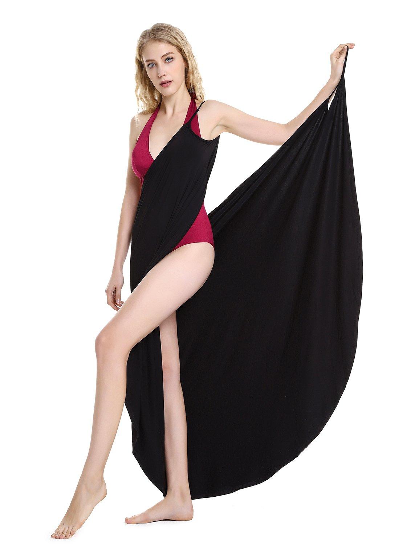 ZAN.STYLE Women's Plus Size Spaghetti Strap Swimsuit Cover Up Beach Sarong Wrap Dress Black Small