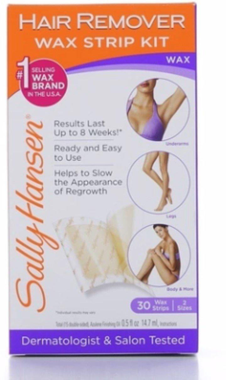 Sally Hansen Hair Remover Wax Strips for Body, Legs, Arms & Bikini, 30 ea (Pack of 4)