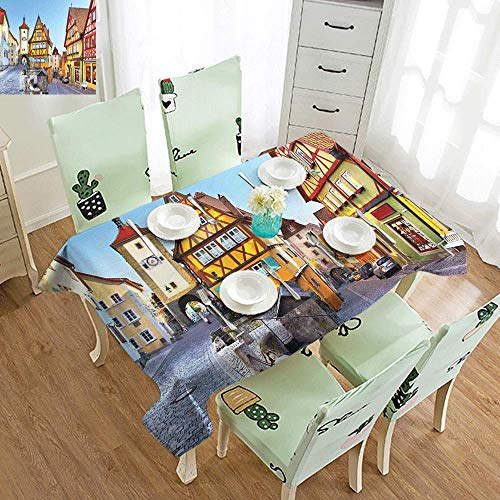 DILITECK Restaurant Tablecloth German Rothenburg ob der Tauber Bavaria Germany Famous Street with Colorful Classic Houses and Durable W52 xL72 Multicolor