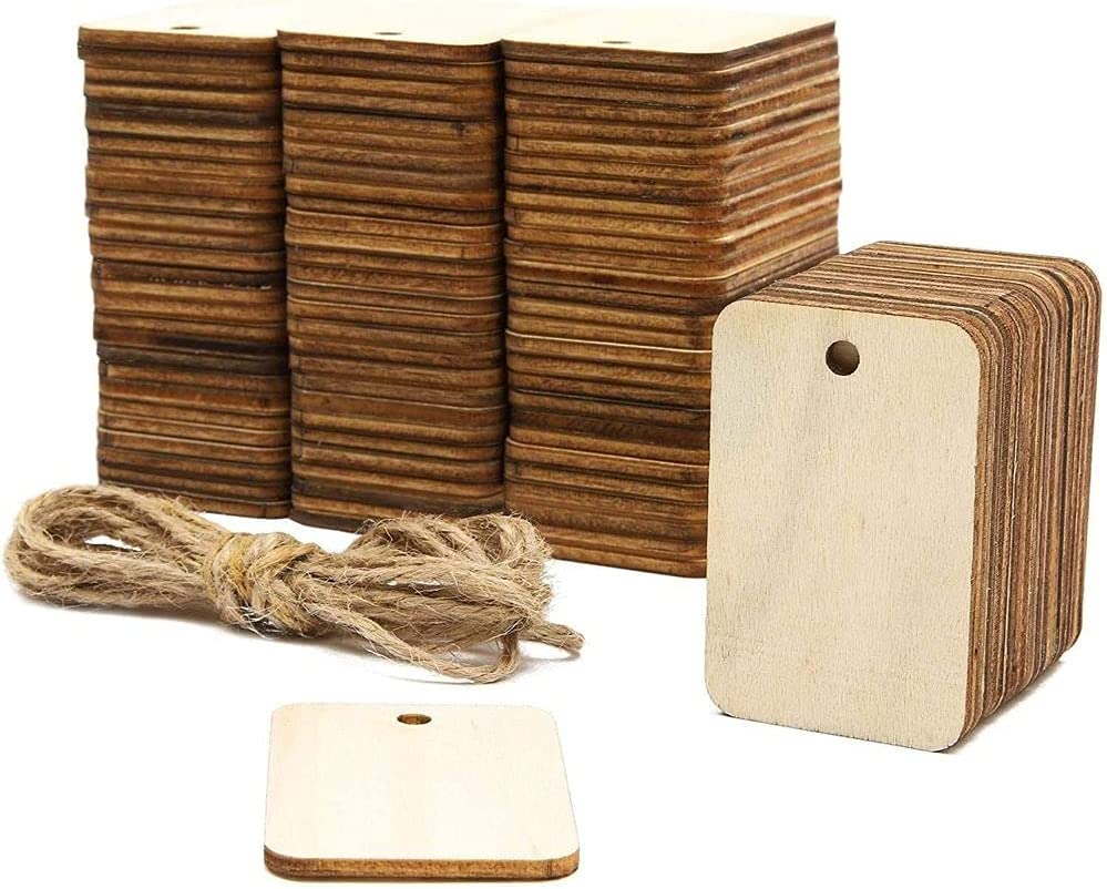 Unfinished Wood Rectangle Cutouts with Hemp Rope (1.3 x 2 in, 100 Pack)