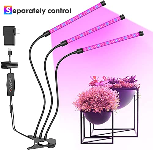 LED Grow Lights Strips for Indoor Plants, Red Blue Full Spectrum Plant Lights with Auto ON Off, 3 6 12H Timer, 6 Dimmable Levels 3 Heads Growing Lamps for Indoor Succulent Plants