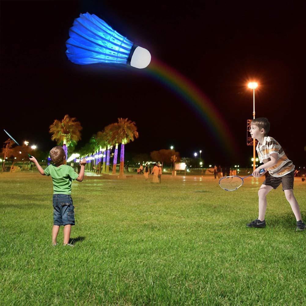 Volano Dark Night Brillano Illuminazione Badminton per Esterni Interni Sport attivit/à LED Badminton Durevole Luminosi Volano