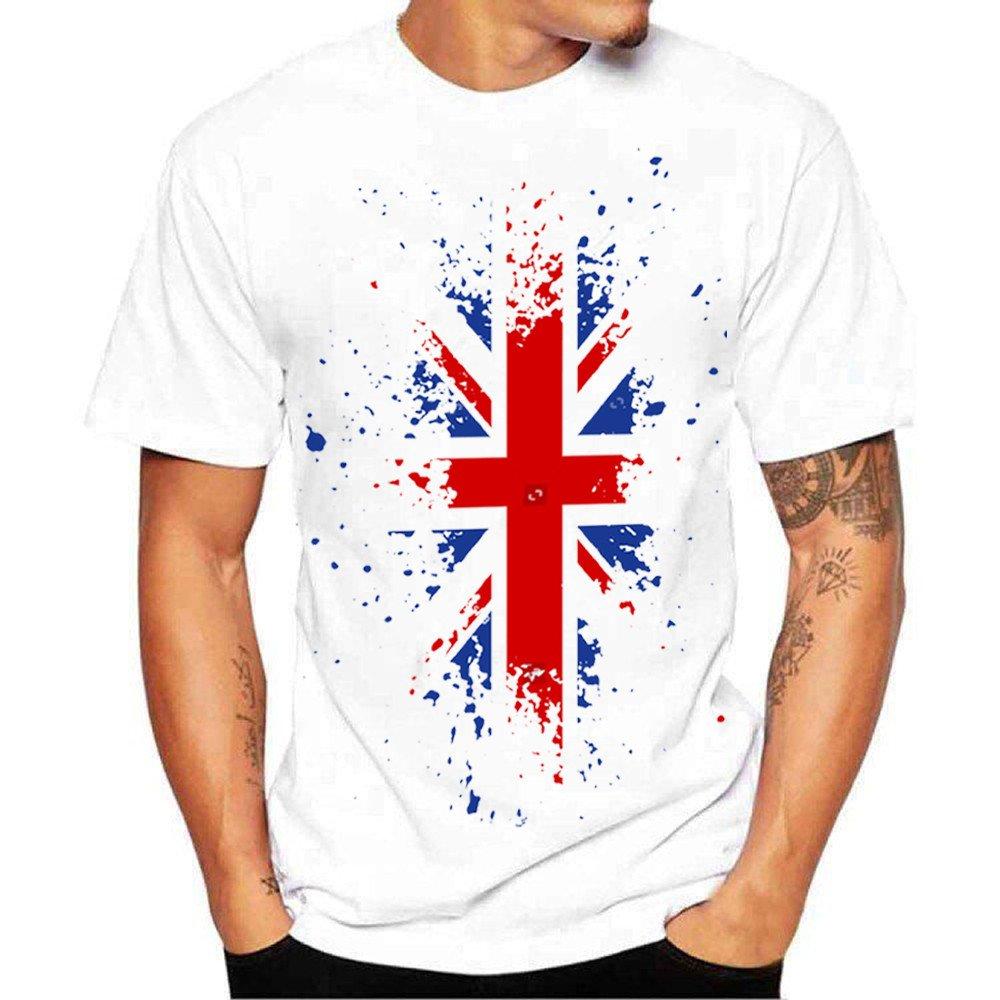 Respctful✿Mens Summer Fashion Tee Summer Casual Slim Fit American Flag Short Sleeve Henley Top T Shirts