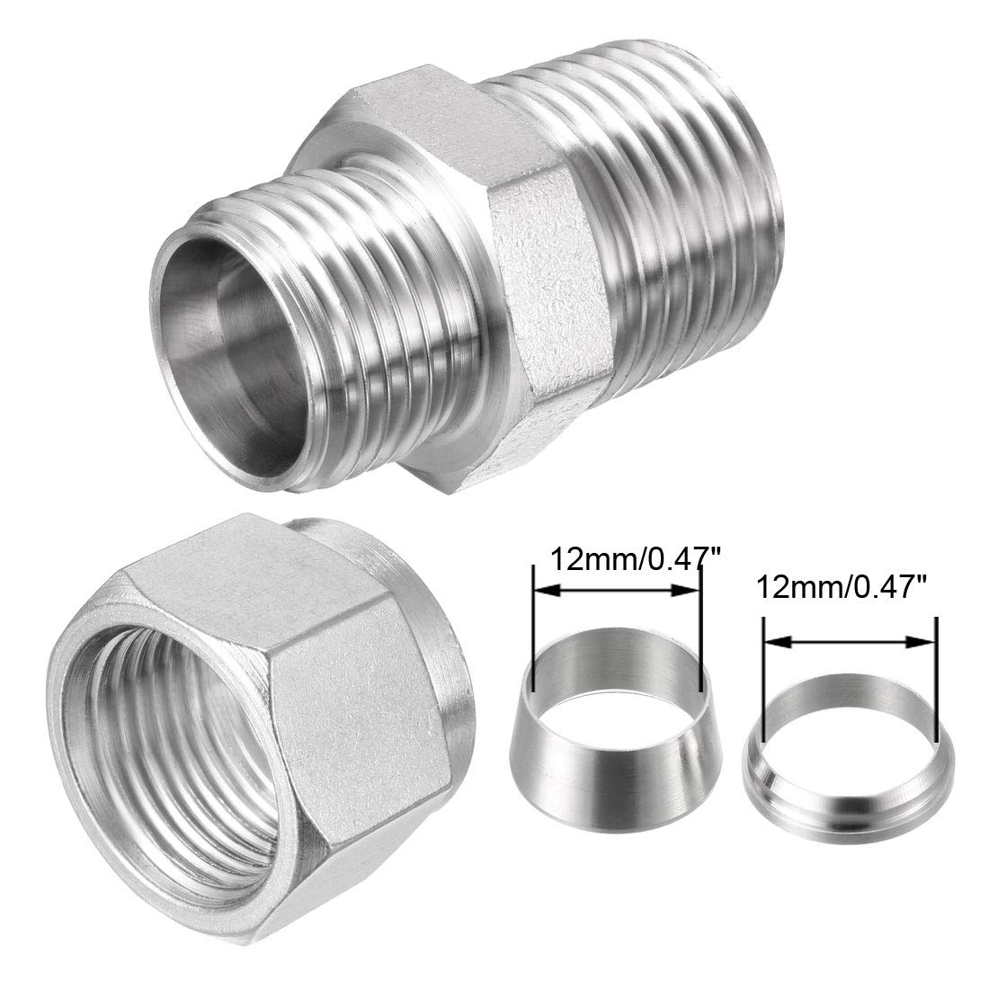 uxcell Stainless Steel Compression Tube Fitting 1//2-inch NPT Male x Ф12 Tube OD