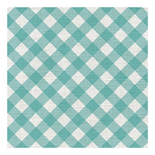 Graphique Gingham Teal Cocktail Napkins - Pack of 20 - Soft, Triple-Ply, Disposable Beverage Napkins, Great for Parties, Picnics and Hosting in Style ()