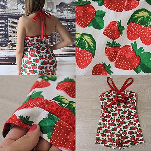 Sisjuly Womens Retro Style Summer Romper Strawberry Print XL