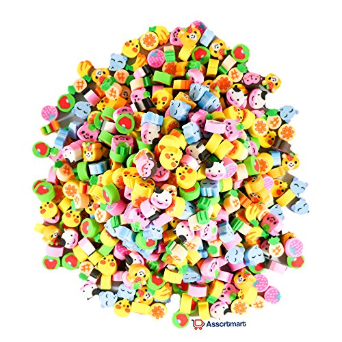 500 Mini Eraser Animal and Fruit Assortment
