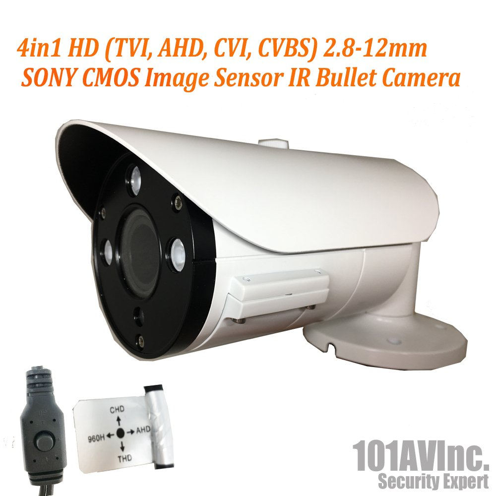 101AV Security Bullet Camera 1080P True Full-HD 4 in 1 TVI, AHD, CVI, CVBS 2.8-12mm Variable Focus Lens 2.4Megapixel CMOS Image Sensor IR in Outdoor DWDR OSD Camera White