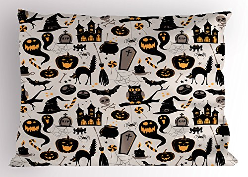 Vintage Halloween Pillow Sham by Ambesonne, Halloween Cartoon Jack o Lantern Tombstone Skulls and Bones, Decorative Standard King Size Printed Pillowcase, 36 X 20 Inches, Light Grey Multicolor