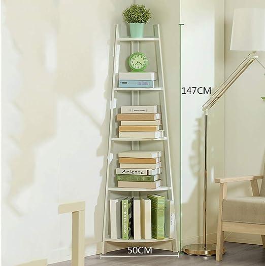 Estante de la esquina soporte de madera escalera de almacenamiento Display Stand sala dormitorio casa escritorio oficina registro, blanco, negro (tamaño: 147 * 50CM),White: Amazon.es: Hogar