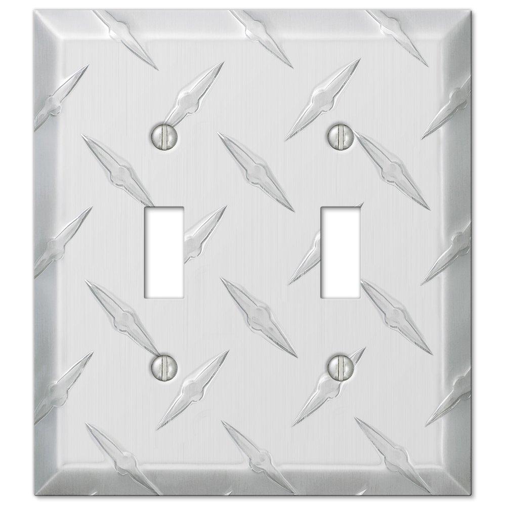 Amertac 955TT 2 Toggle Diamond Stamped Aluminum Wallplate (CECOMINOD025596)